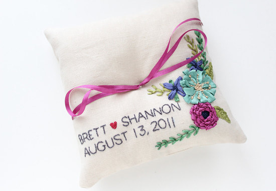 photo of Embroidered ring bearer pillow