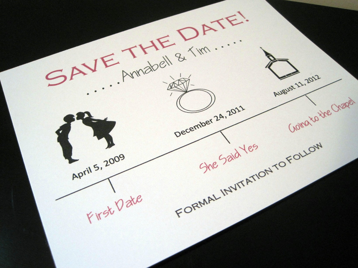 cute wedding save the date ivory red black | OneWed.com