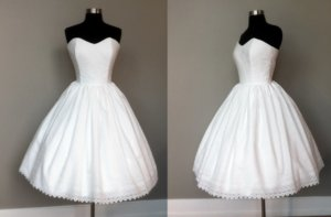 photo of Sweetheart neckline tea-length wedding dress