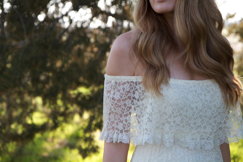 lace off the shoulder wedding dress vintage
