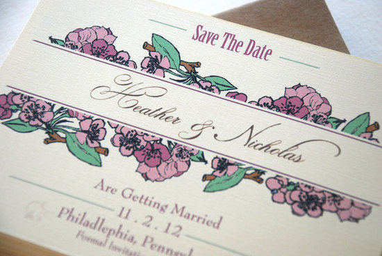floral wedding save the date romantic