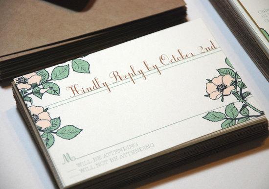 photo of Vintage floral wedding invitations- RSVP cards