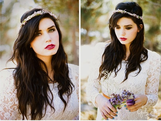 photo of bohemian bride wedding hair accessories romantic crown