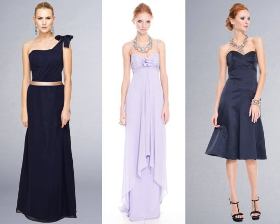 chic bridesmaids dresses 2012 badgley mischka navy lilac