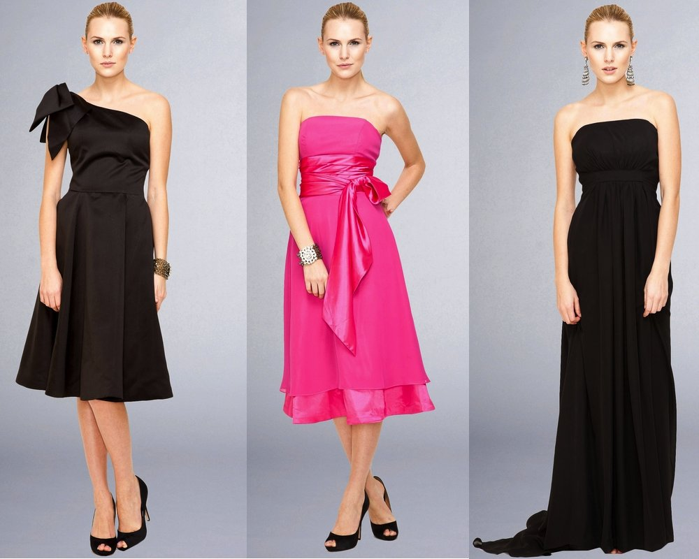 hot pink black bridesmaids dresses modern wedding style 2012