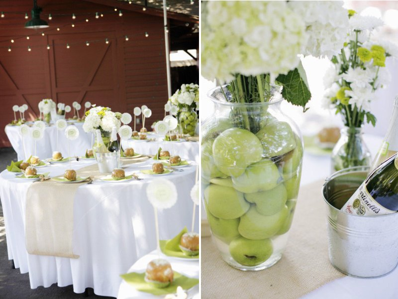 Elegant Wedding Reception Decor Centerpieces Using Fruit Green