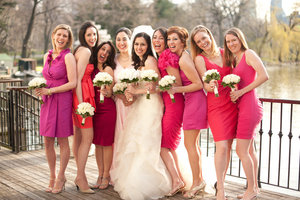photo of pink mix and match bridesmaids