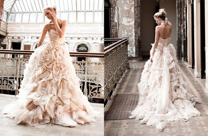 Romantic pink wedding dress 2012 monique lhuillier for Romantic wedding dress designers