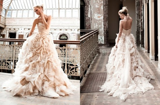 romantic pink wedding dress 2012 monique lhuillier ballgown