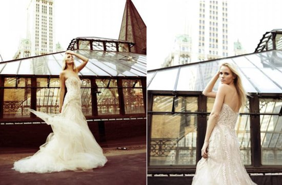 2012 monique lhuillier wedding dress romantic outdoor wedding photos