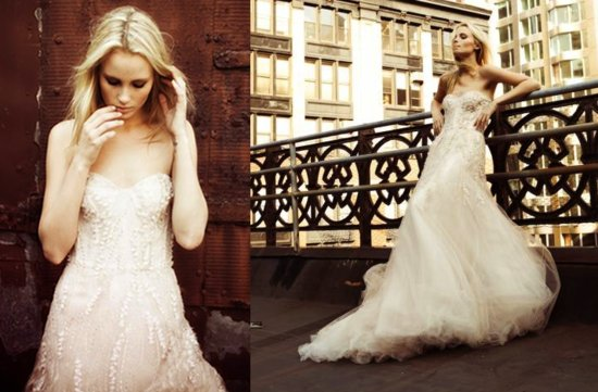 photo of 2012 monique lhuillier wedding dress beaded tulle mermaid