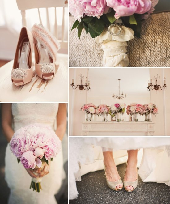 rose gold wedding color palette bridal heels bouquet