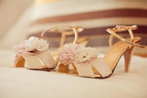 photo of Romantic pastel-toned wedding shoes