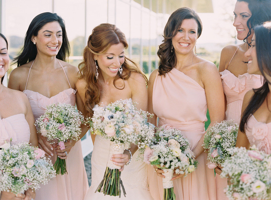 Romantic Bridal Hairstyle Half Up Bride With Bridesmaids