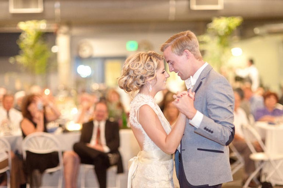 bride groom first dance all up wedding hair curled updo