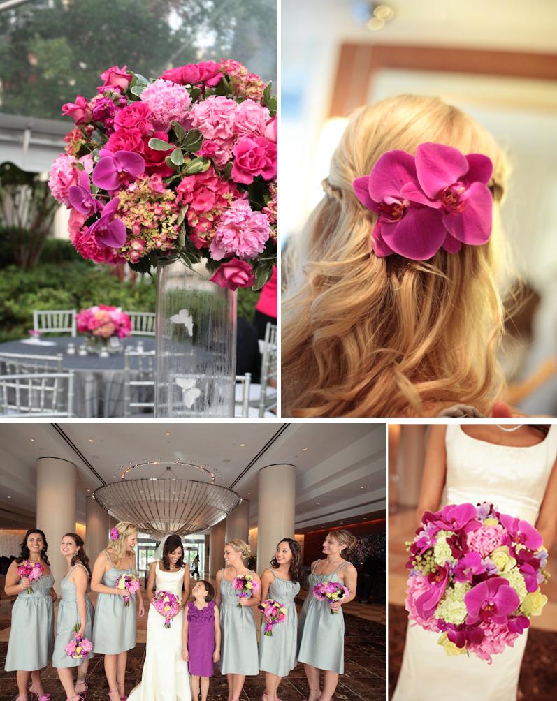 Hot pink orchids wedding flower centerpieces onewed