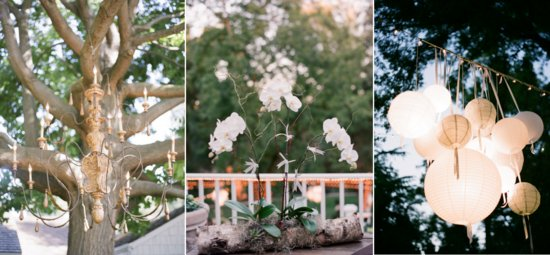 romantic outdoor wedding chandeliers white orchid centerpieces