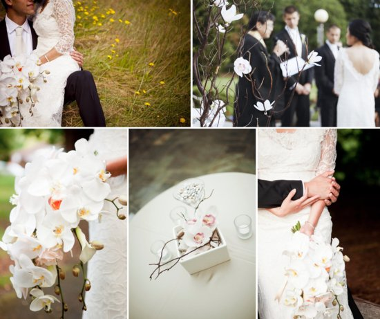 photo of white orchid wedding flowers romantic outdoor wedding