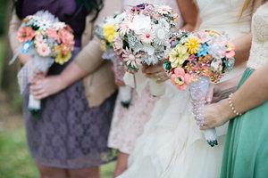 photo of Brooch bouquets and other eco-friendly wedding flowers