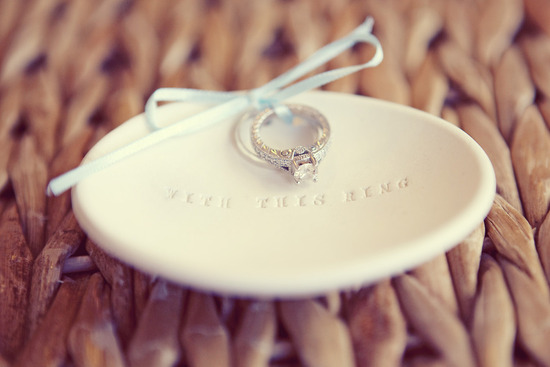 diamond engagement ring on ring bearer dish