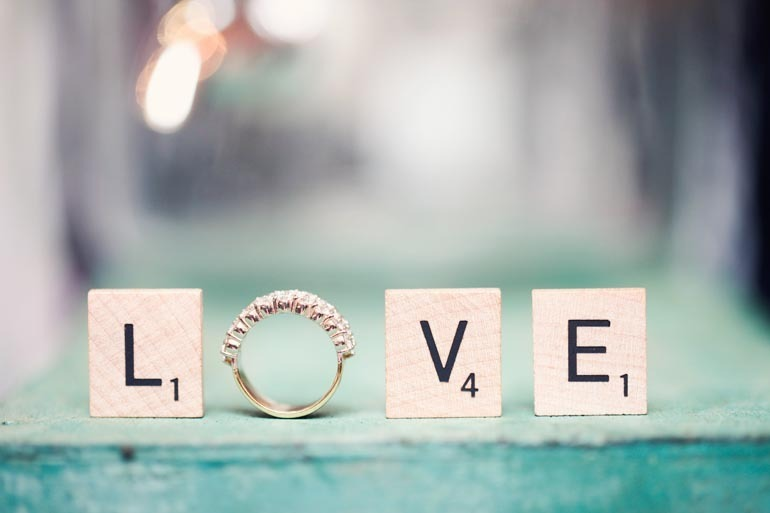 unique engagement ring wedding photo scrabble tiles spell love