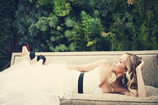 sophisticated bride black sash christian louboutin wedding shoes