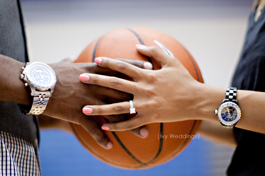 March-madness-wedding-ideas-engagement-shoot-on-basketball-court.full