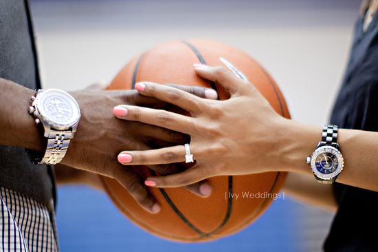 march madness wedding ideas engagement shoot on basketball court