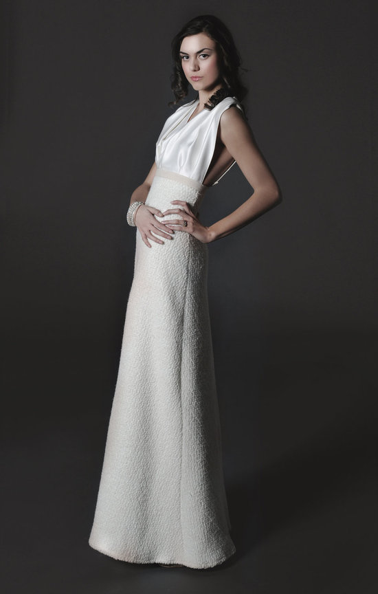 2012 halter wedding dress silk bodice winter wedding skirt