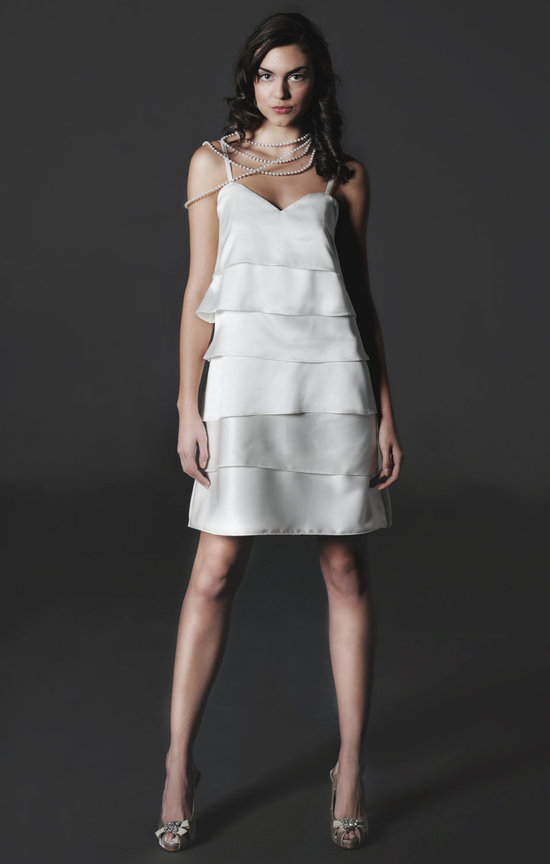 2012 chic little white dress for wedding reception silk