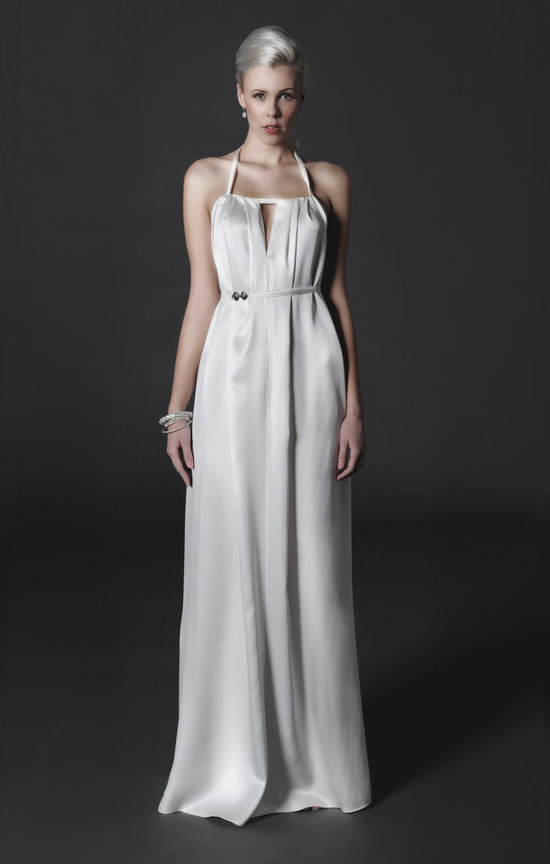 photo of Silk halter wedding dress
