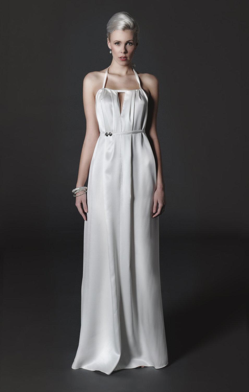 2012 vintage inspired silk wedding dress halter for Silk vintage wedding dresses
