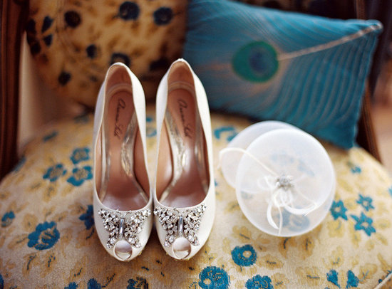 photo of 2012 real weddings bridal heels peep toe wedding hat