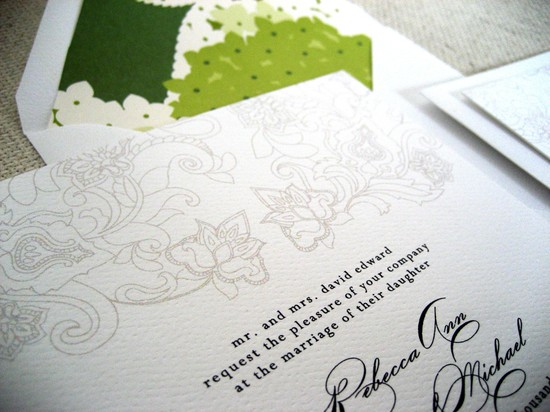 elegant white tan black green wedding invitations