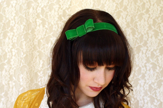 photo of Velvet green headband for bridesmaids