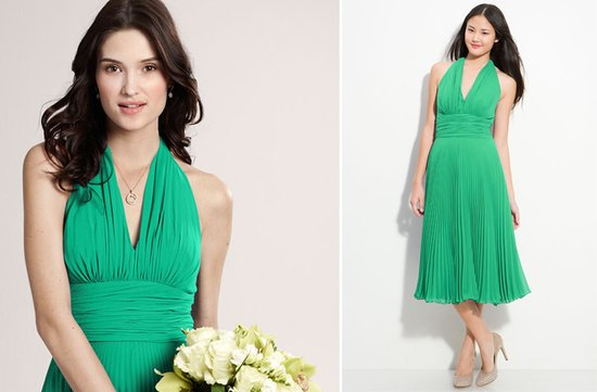 green halter bridesmaid dress