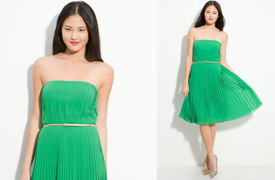 photo of Strapless green bridesmaid dress with belt