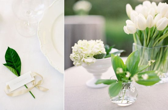 ELEGANT GREEN IVORY WEDDING RECEPTION TABLESCAPE PLACE SETTING