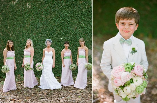 light pink bridesmaids dresses with green sashes