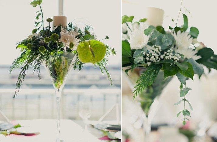 Unique Wedding Reception Centerpieces Green Ivory
