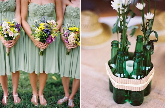 green bridesmaids dresses DIY wedding reception centerpieces