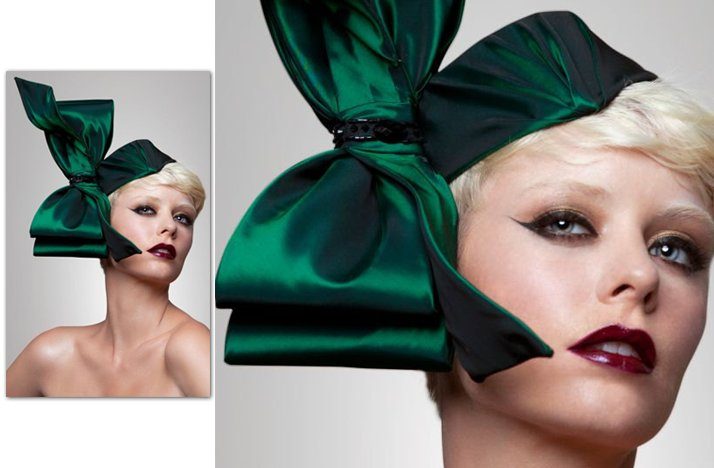 dramatic wedding hair accessories green bridal bow