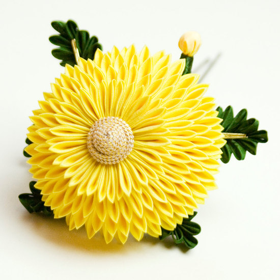 photo of Yellow Maiko Chrysanthemum Kanzashi Silk Flower Pin from Etsy