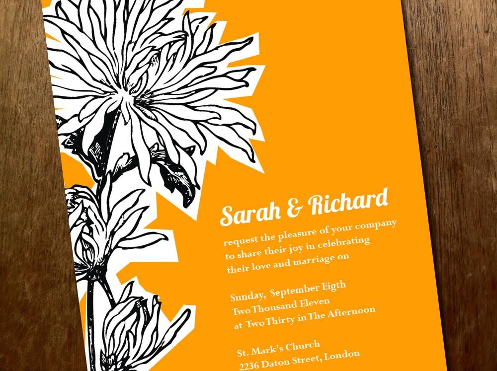 Bright Wedding Invitations: Bright Wedding Invitations Yellow Black White