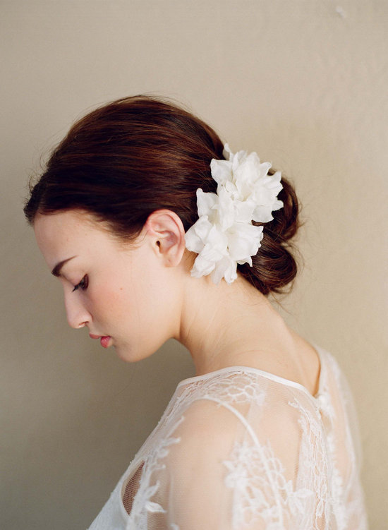 photo of Wedding hair accessories- silk flower pair