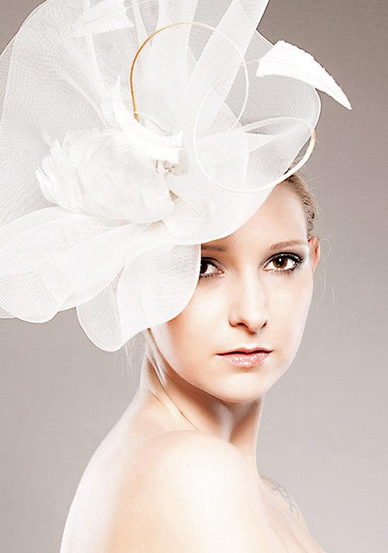 photo of Bridal crinoline cocktail hat
