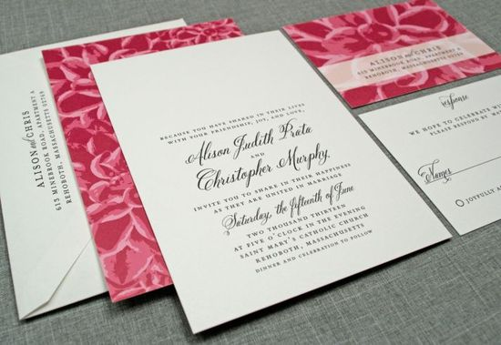 Alison Dahlia Floral Pattern Wedding Invitation