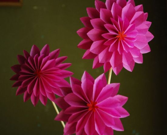 Hot Pink Dahlia Paper Flowers