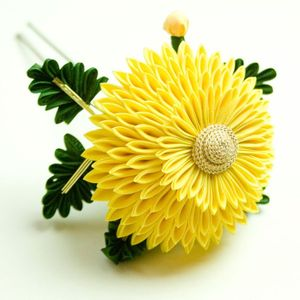 photo of Yellow Maiko Chrysanthemum Kansashi Silk Flower Hair Pin