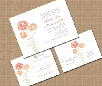 Dahlia Flower Wedding Invitations